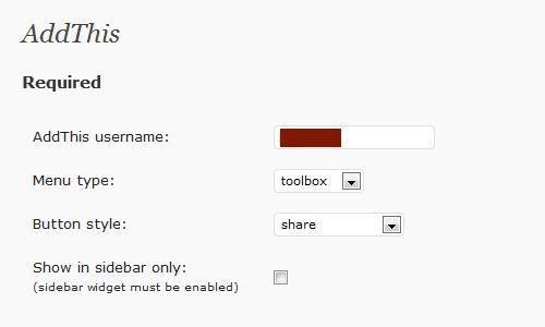 AddThis に登録したパスワード、メニューのタイプ、ボタンのタイプを選択