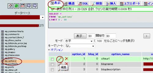 phpMyAdmin中でのoptionのデータを書き換える