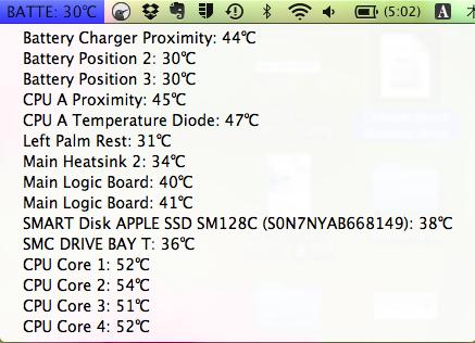 ツールバーの所に温度表示がされる