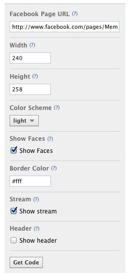 Facebook Page設定入力項目