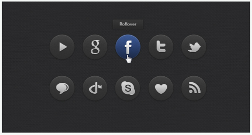 Dark Social Icons Set