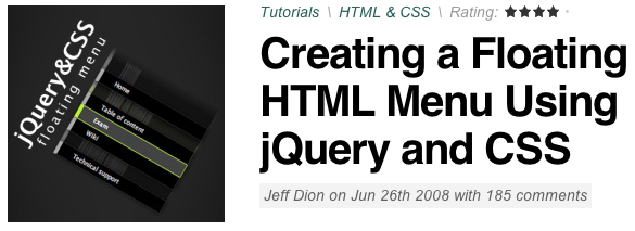 Creating a Floating HTML Menu Using jQuery and CSS