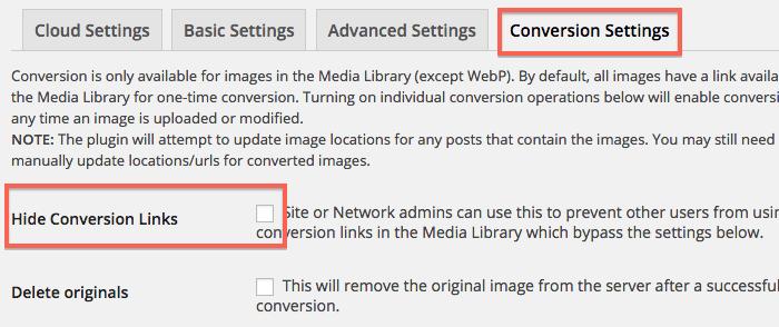 「Conversion Settings」タブを開き、「Hide Conversion Links」へチェックを入れ「Save Changes」ボタンをクリック